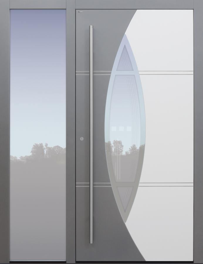 Haustür grau mit Glasmotiv MRS5 mit Option 2. Farbe mit Seitenteil B1 Modell A230-T2