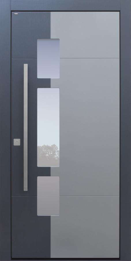Haustür modern, grau und anthrazit, TOPICcore, Sicherheitstür, passivhaustauglich, besser als Alu, Glas