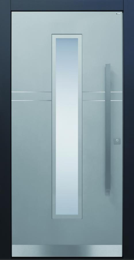 Haustür modern, grau, Edelstahl, Sicherheitstür, passivhaustauglich, besser als Alu, Glas