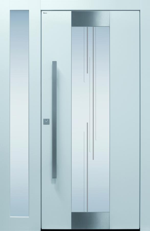 Haustür modern weiß, Sicherheitstür, Edelstahl, passivhaustauglich, besser als alu, Seitenteil, Glas
