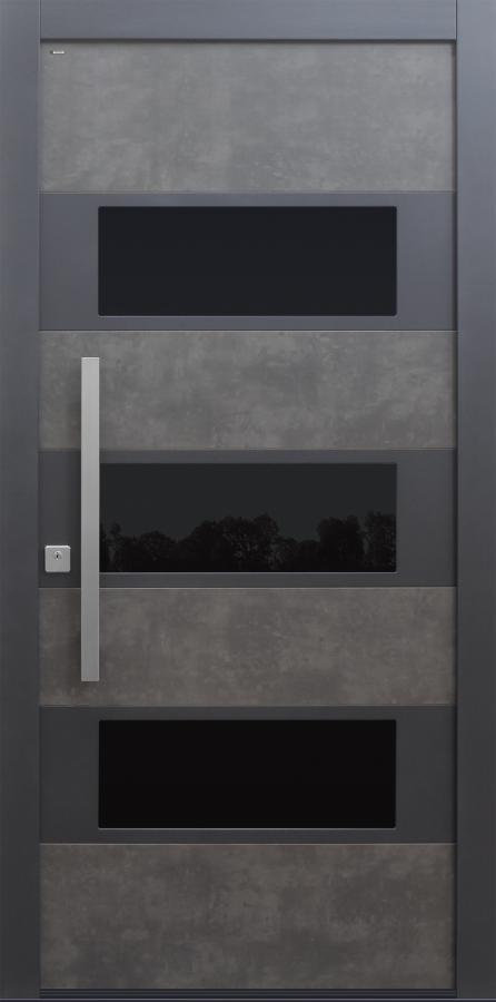 Haustür modern, grau, Keramik, TOPICcore, Edelstahl, Sicherheitstür, besser als Alu, Glas