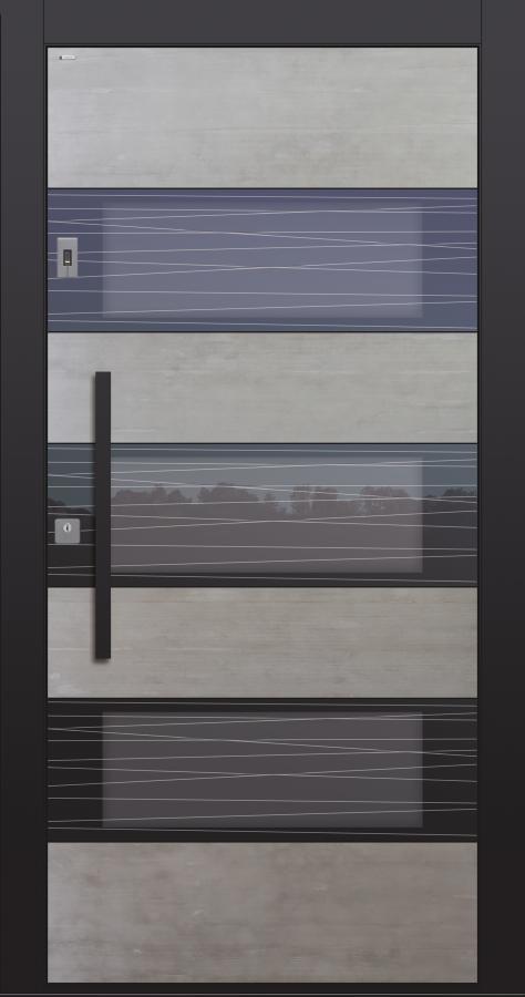 Haustüren modern, Echtbeton, Beton, Fingerprint, Stoßgriff schwarz, Sicherheitstür, passivhaustauglich, TOPICcore, besser als Alu, Glas