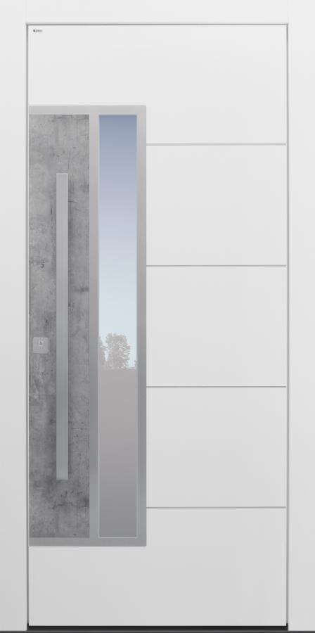 Haustür modern, Exterior, Skyline, weiß, TOPICcore, Sicherheitstür, passivhaustauglich, besser als Alu, Glas