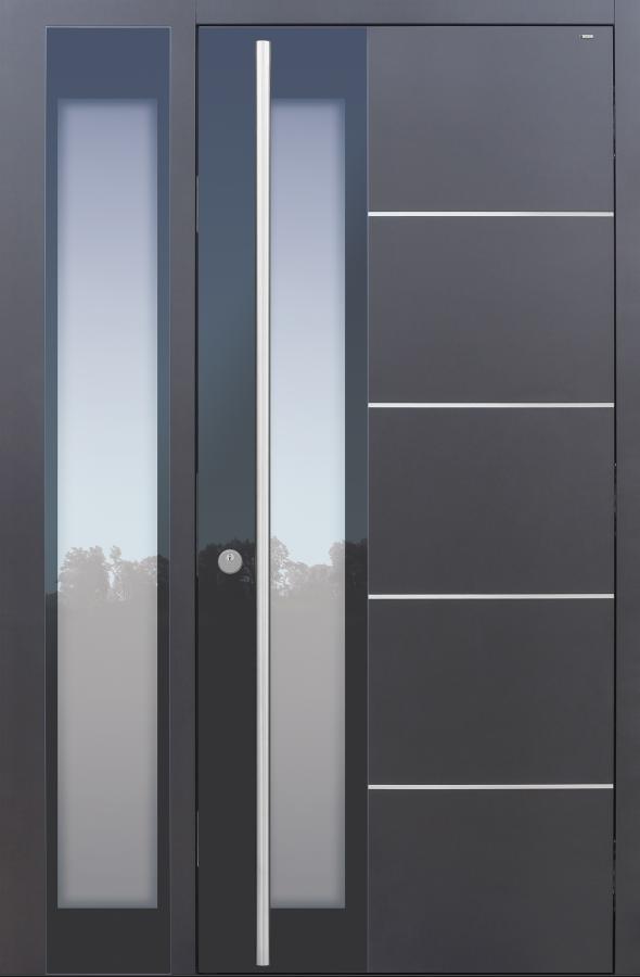 Haustür modern, anthrazit, TOPICcore, Edelstahl, Seitenteil, Sicherheitstür, passivhaustauglich, besser als Alu, Glas