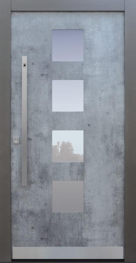 Haustür modern, Exterior, Skyline , Fingerprint, TOPICcore, Sicherheitstür, besser als Alu, Glas