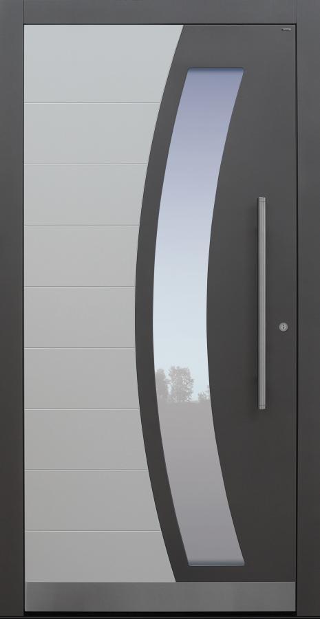 Haustür grau mit Sockel auf Kundenwunsch mit Optionen 2. Farbe und Rosette flächenbündig Modell B62-T1