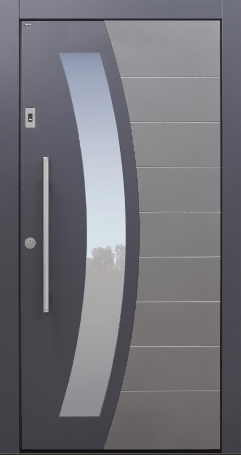 Haustür modern, anthrazit und grau, TOPICcore, Edelstahllinien, Sicherheitstür, passivhaustauglich, besser als Alu, Glas