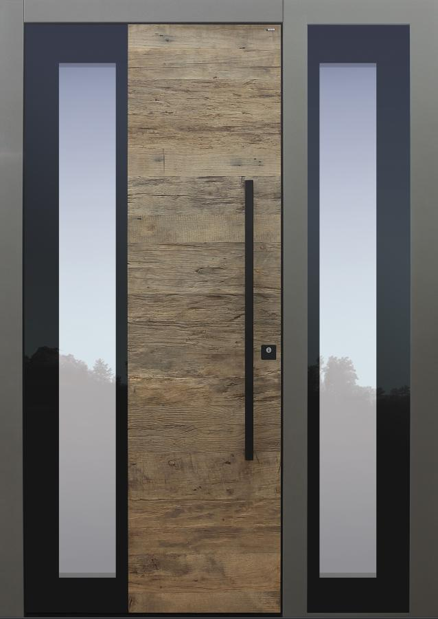 Haustür modern, Holz, Eiche, Altholz Eiche, Stoßgriff schwarz Sicherheitstür, passivhaustauglich, besser als Alu, Glas, Seitenteil