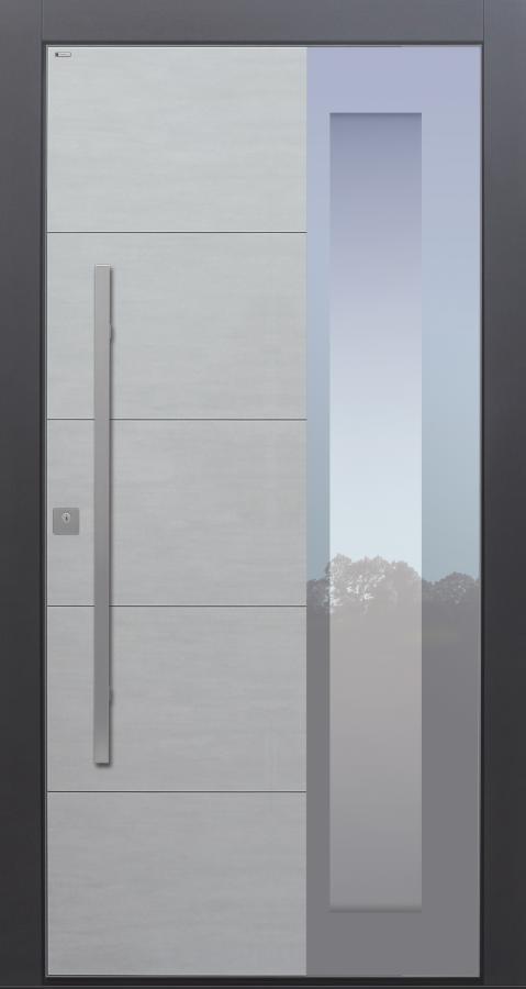 Haustür modern, Keramik, Koshi Grau, Sicherheitstür, passivhaustauglich, besser als Alu, Glas