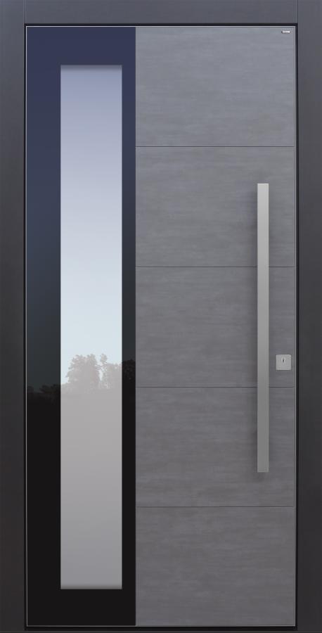 Haustür modern, Koshi dunkelgrau, Keramik, Topiccore, Sicherheitstür, passivhaustauglich, besser als alu, Glas
