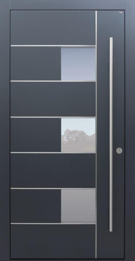 Haustür modern, anthrazit, dunkelgrau, TOPICcore, Edelstahl, Sicherheitstür, passivhaustauglich, besser als Alu, Glas
