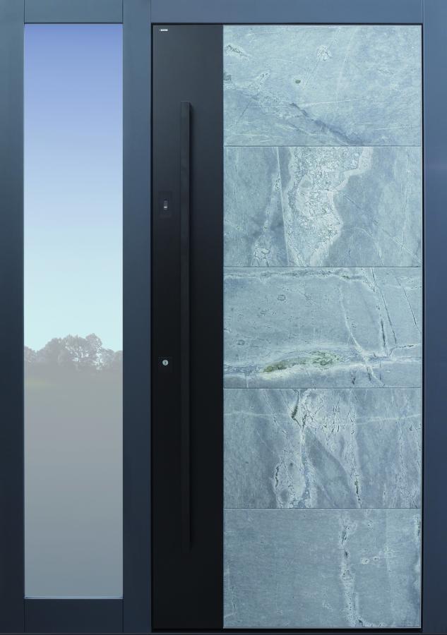 Haustür modern, grau, Stein, Himalayastein, TOPICcore, Seitenteil, Sicherheitstür, passivhaustauglich, besser als Alu, Glas