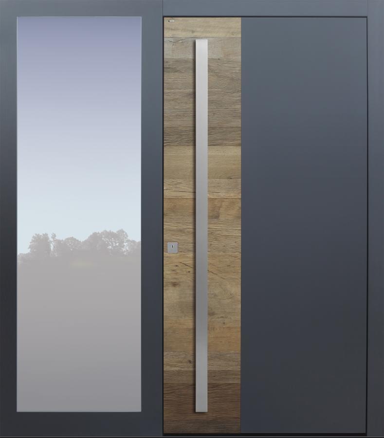 Haustür modern, Altholz, Eiche, Holz, über 300 Jahre, anthrazit, Seitenteil, TOPICcore, Sicherheitstür, passivhaustauglich, besser als Alu, Glas